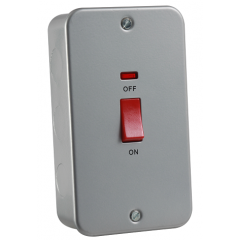 MC8332N - Metal Clad 45A DP Switch with Neon - Large Plate