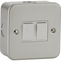 MC3000 - Metal Clad Switch - 2 Gang 2 Way - 6Amp