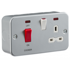 MC8333N - Metal Clad 2G 45A DP Cooker Switch and 13A Switched Socket with Neon