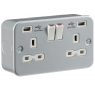 Metal Clad USB Twin Switched Socket - Double Pole
