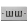 VPCH414BK - Click Deco Chrome 4 Gang 2 Way switch Black Insert 10Amp