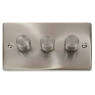 VPSC153BK - Click Deco Satin Chrome 3 Gang 2 Way 400 Watt Dimmer