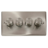 VPSC154BK - Click Deco Satin Chrome 4 Gang 2 Way 400 Watt Dimmer