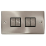 VPSC414BK - Click Deco Satin Chrome 4 Gang 2 Way switch Black Insert 10Amp