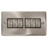 VPSC416BK - Click Deco Satin Chrome 6 Gang 2 Way switch Black Insert 10Amp