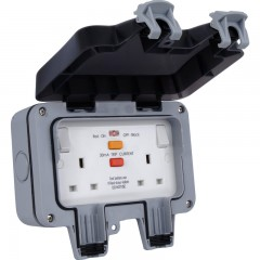 WP22RCD-01 - BG Storm Weatherproof IP66 13Amp 2 Gang RCD Protected Switched Socket
