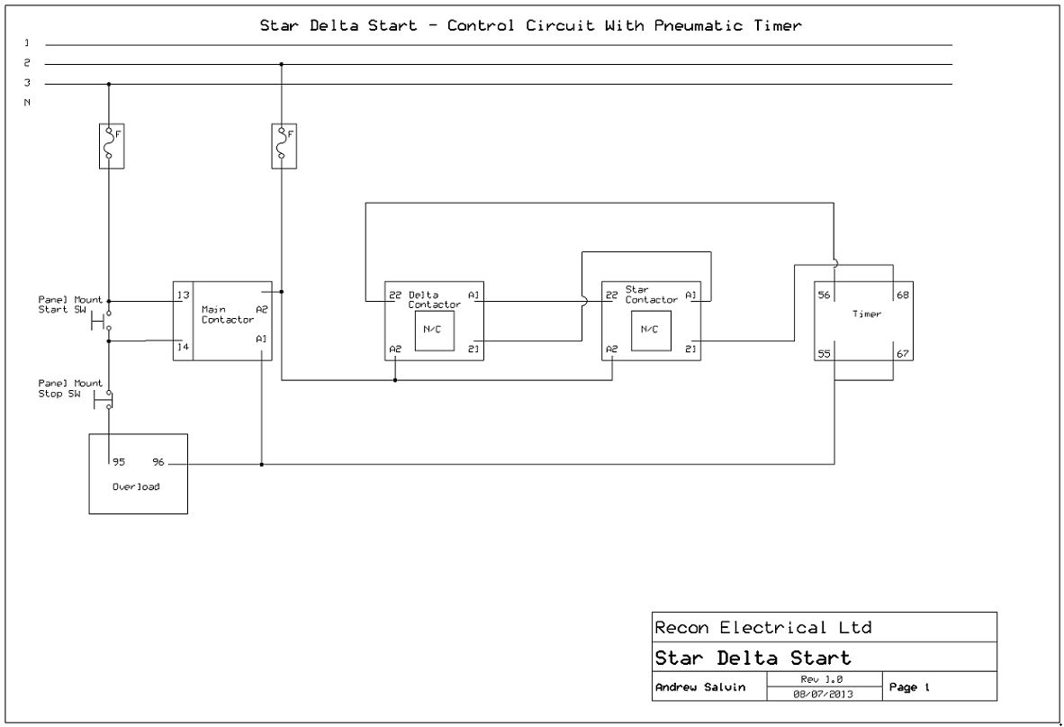 Star Delta Start Control Circuit with Pneumatic Timer technical faq's lovato contactor wiring diagram at suagrazia.org
