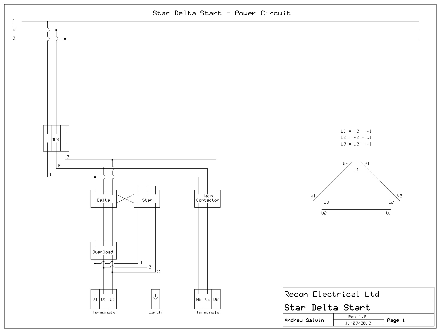 Technical Faqs 1 Star Delta Starter Control Wiring Diagram Schematic Drawing Of A Typical Power Circuit